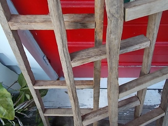 Ladder primitive decor country wooden home and garden decorating