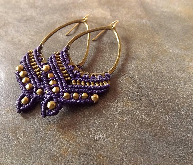 Purple and Bronze Macrame Earrings, Boho Earrings, Teardrop Earrings, Bronze Earrings - neferknots