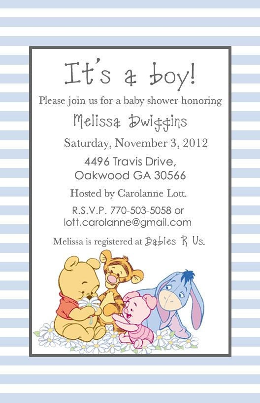 Classic Winnie The Pooh Invitations for luxury invitation template