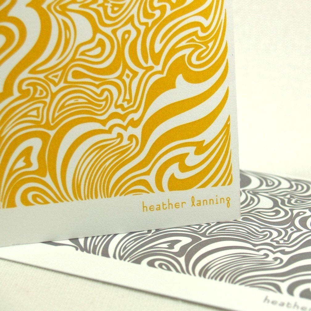 personalized note cards stationery set -design swirls (8) CHOOSE color