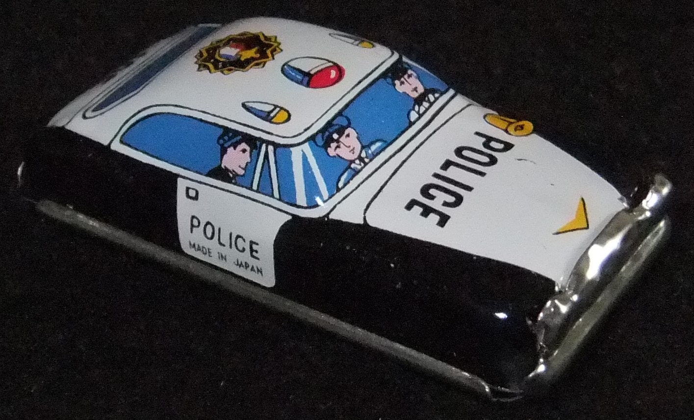 Police car tinplate toy car vintage c1960s by Lucky Toys made in Japan
