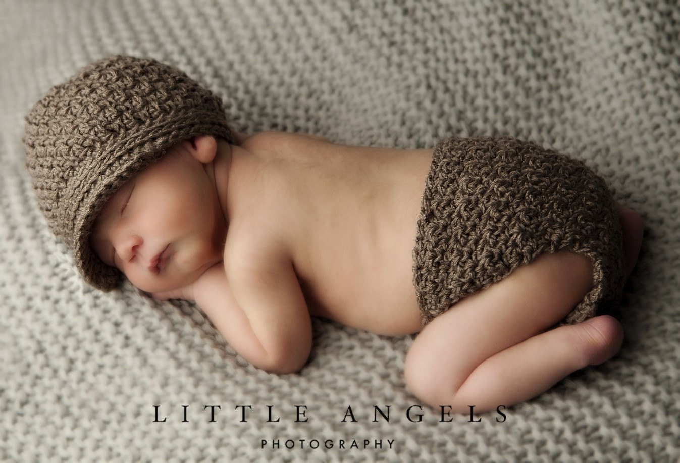 Brown-Eyed Boy Crochet Hat and Diaper Cover by SunsetCrochet