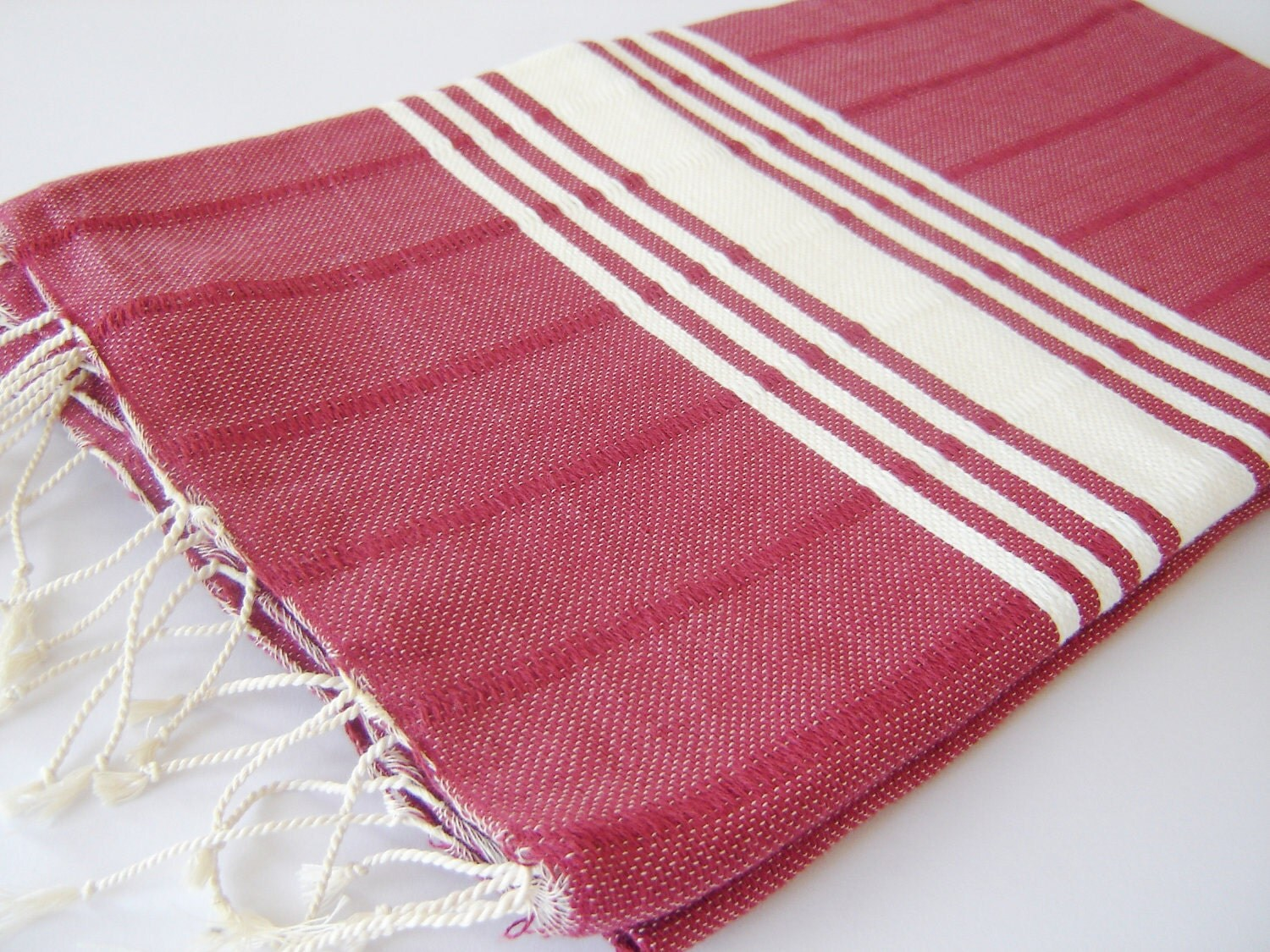 Best quality Turkish Towel, Natural Soft Cotton Bath and Beach Towel, Peshtemal, Claret Red - TheAnatolian