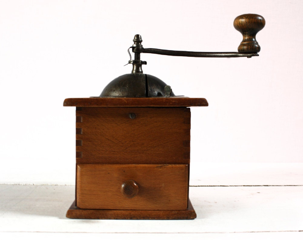 Vintage  mechanical  WOOD and Metal  french coffee grinder SHABBY chic