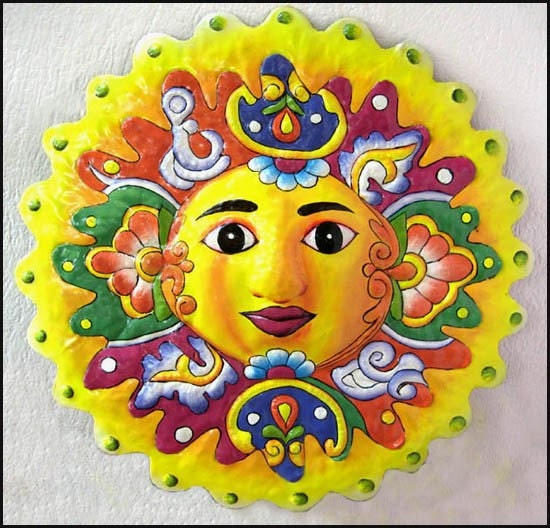 Yellow Sun Wall Decor : Sun garden art wall hanging yellow painted by tropicaccents