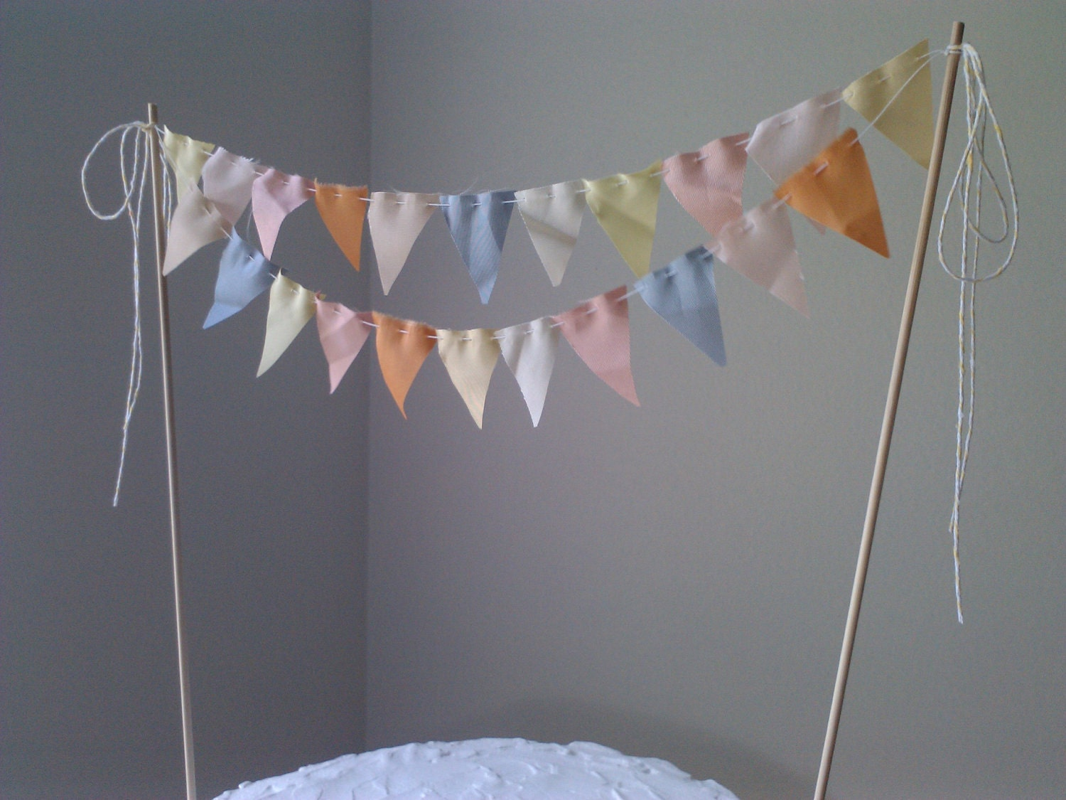 Cake Bunting Flags Wedding Cake Topper Spring pale yellow melon