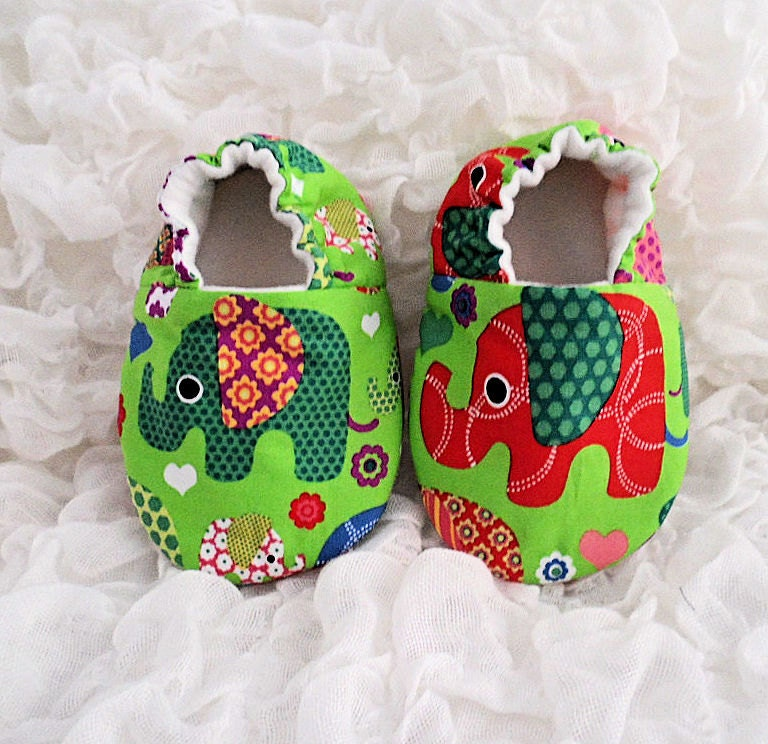 Baby Shoes Baby Slippers Elephant Print Baby Boy Baby Girl Green ShoesBaby Gift Soft Sole Shoe Babies First Shoes Baby Elephant