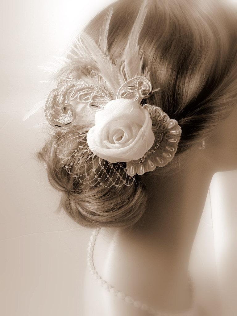 Bridal Ivory Flower Hair Accessories : Bridal hair accessories ivory by svitlanasbridalveils