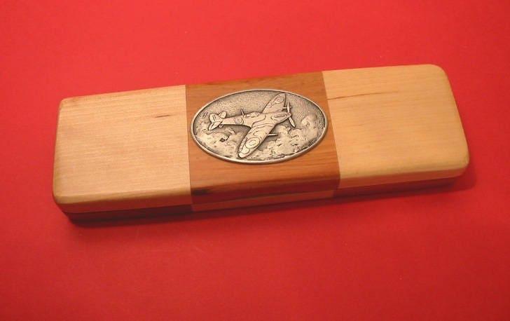 Spitfire Wooden Pen Box with Pens Second World War History Teacher World War Two Veteran Gift