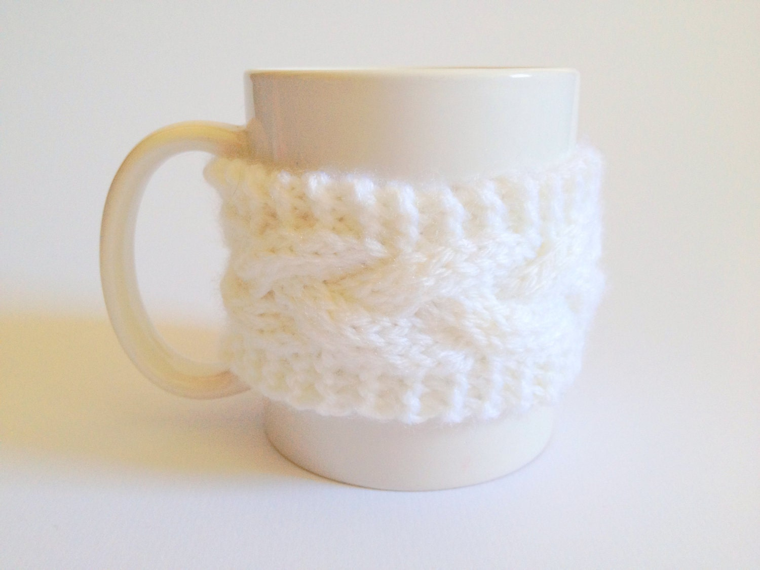 Mug Cozy Coffee Cozy Coffee Sleeve Cup Cozy Cable Knit in White - MadebyMegShop