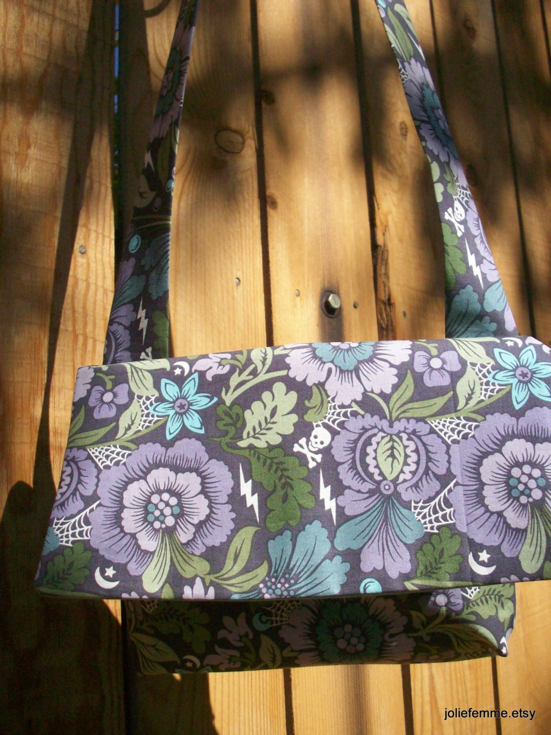 Nightshade Floral Purple and Gray  Envelope Cross Body Bag with Shoulder Strap Lightweight - joliefemme