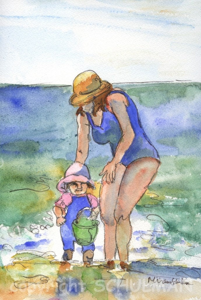 Mother and Child Beach Scene Watercolor Print 11x14 matted print Coney Island