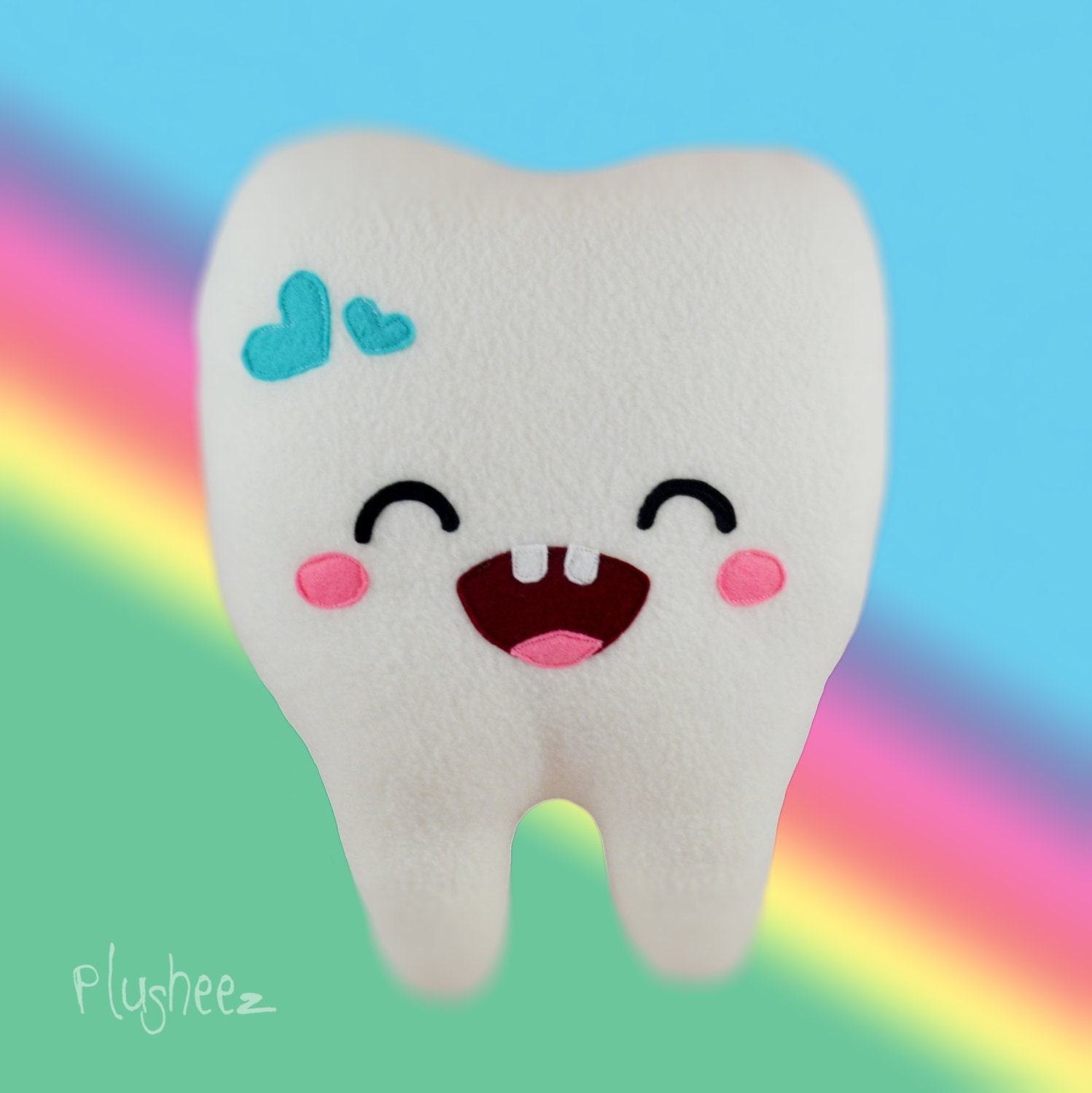 Sweet Tooth plushee  Kawaii happy tooth pillow