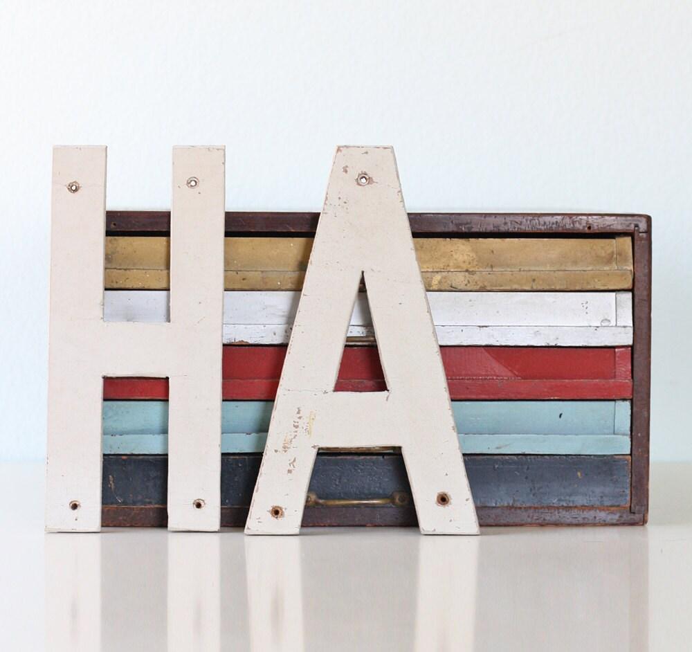 Vintage HA Sign Letters