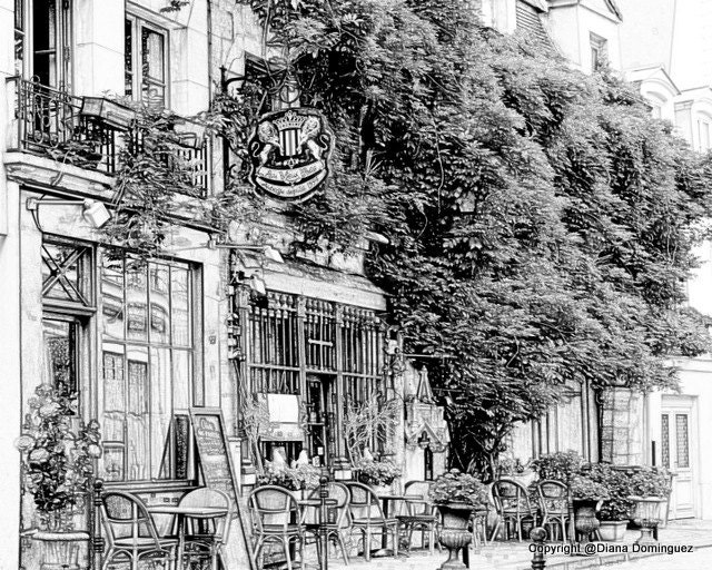 Sketch Parisian Cafe Paris France Sketch 8x10 Drawing by ...
