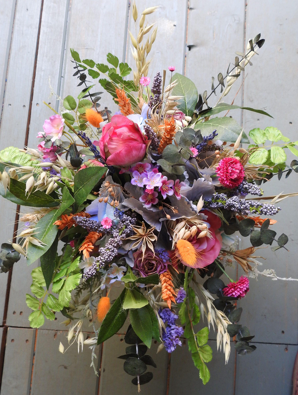 Elvine Wedding Bouquet brides bouquet bridesmaid posy dried flowers buttonholes pink roses multicolours
