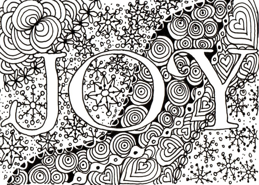 Items Similar To Printable DIY Zendoodle JOY Card 5x7 Pdf