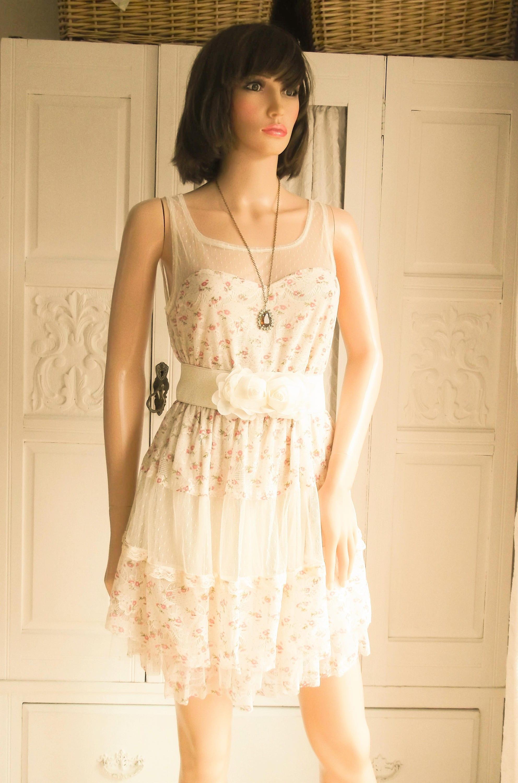 Unworn Cream floral lace dress Mini Dress Summer Boho dress Festival Summer Boho pastel Wedding dress  Cream lace mini Pastel floral dress