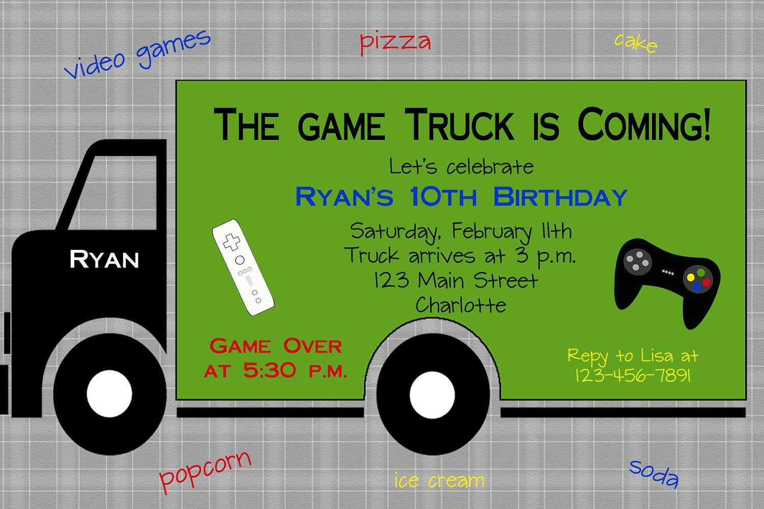 It's just a graphic of Genius Free Printable Video Game Party Invitations