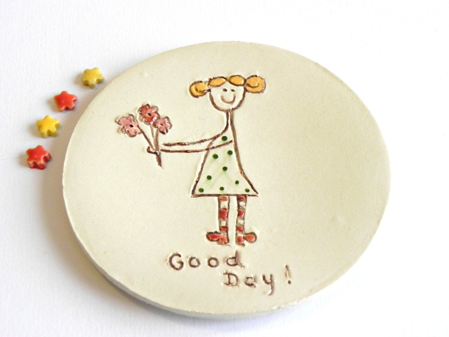 Ceramic Ring Dish Good Day Plate Blond Girl with Flower Polka Dots OOAK Candle Holder - Ceraminic