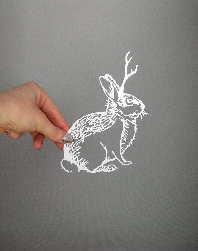 Paper-Cut Scherenschnitte Jackalope Cryptozoology in White - catfriendo