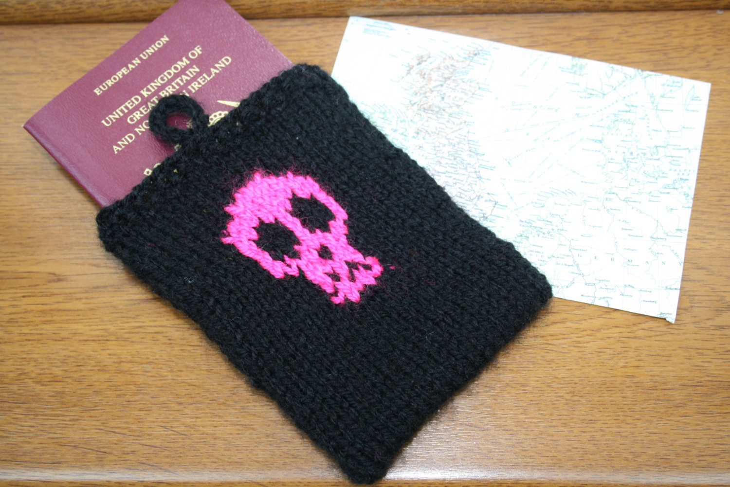 Hand Knitted Neon Pink and Black Skull Passport Cover  One Size  Passport Cover  Gifts for Her  Stocking Stuffers  Travel Gifts