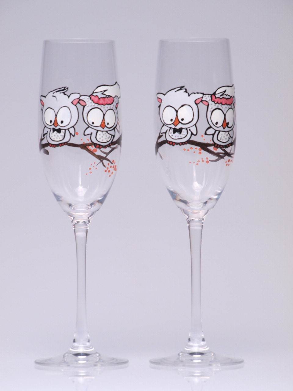 Items Similar To Hand Painted Wedding Toasting Flutes Set Of 2 Personalized C