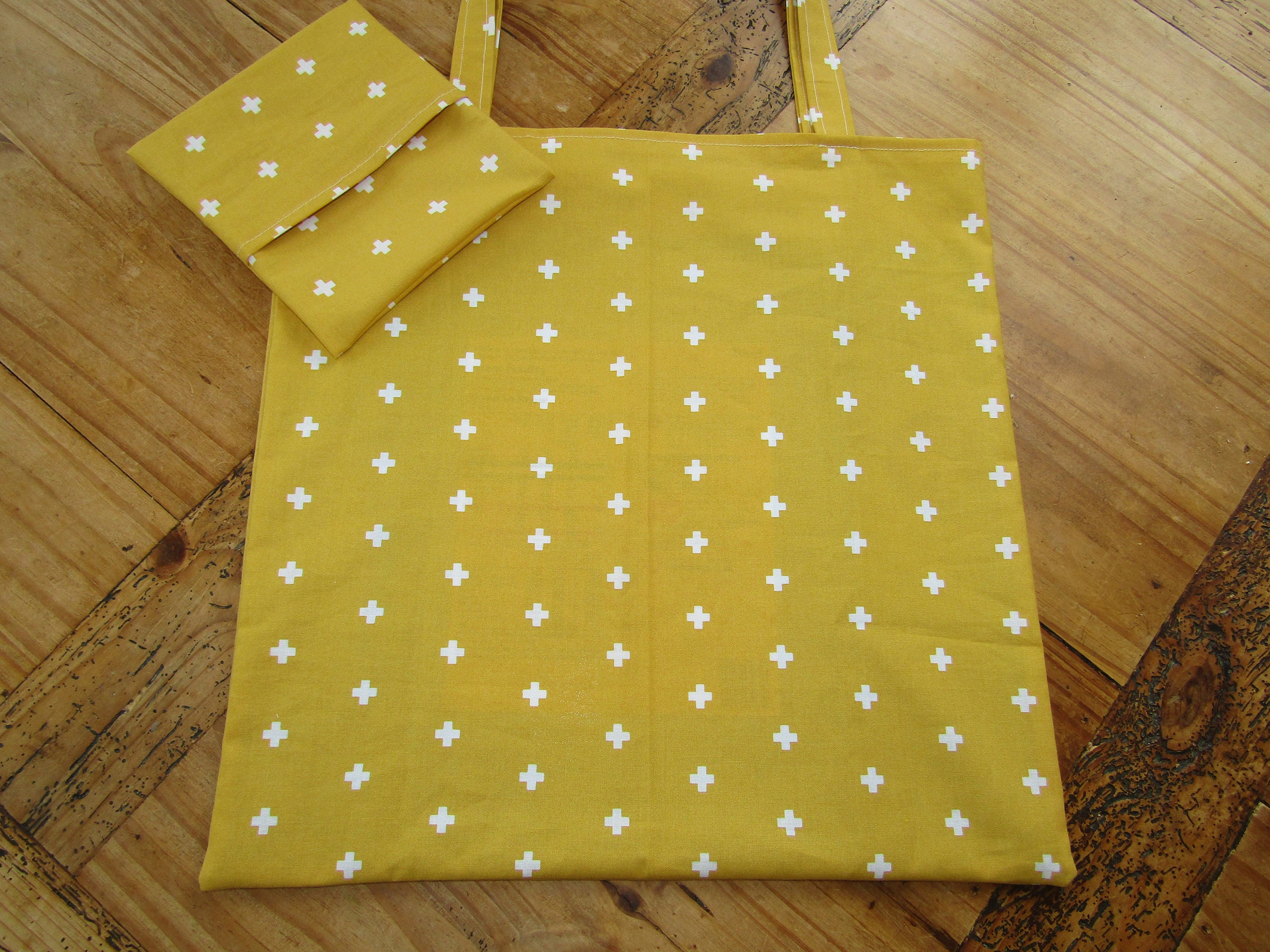 Foldaway shopping bag with pouch mustard shopper bag reusable bag handbag shopping bag mustard yellow bag