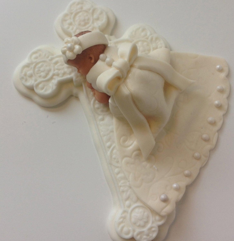 Items similar to Christening Baby Girl Cake Topper Fondant ...