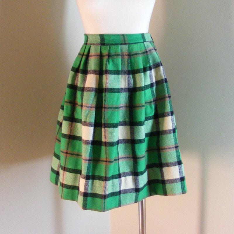 60s green plaid skirt vintage wool pleated by wunderbarvintage