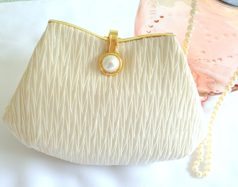 White Satin Clutch, Evening Bag, Wedding,  Pleated Satin, Deco, Gold & Pearl Clasp, La Regale Ltd,  Formal  Handbag - LollysCubbyHole
