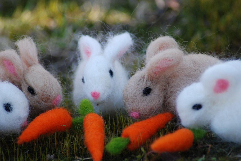 Needle Felted Bunny With Carrot 1 Spring Bunny 1 Carrot  Handmade, Easter Bunny Felt Bunny - BondurantMountainArt