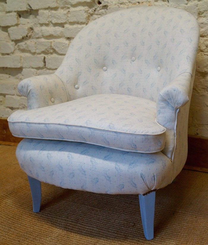 A French Vintage Tub Chair upholstered in Kate Forman Eliza Blue