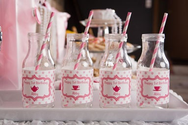 Tea Party Birthday Water Bottle Labels - Tea Party Birthday Party Decorations in Hot & Light Pink (12) - getthepartystarted