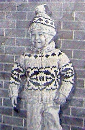 COWICHAN Sweater Knitting Pattern Children Snowflake design outdoors