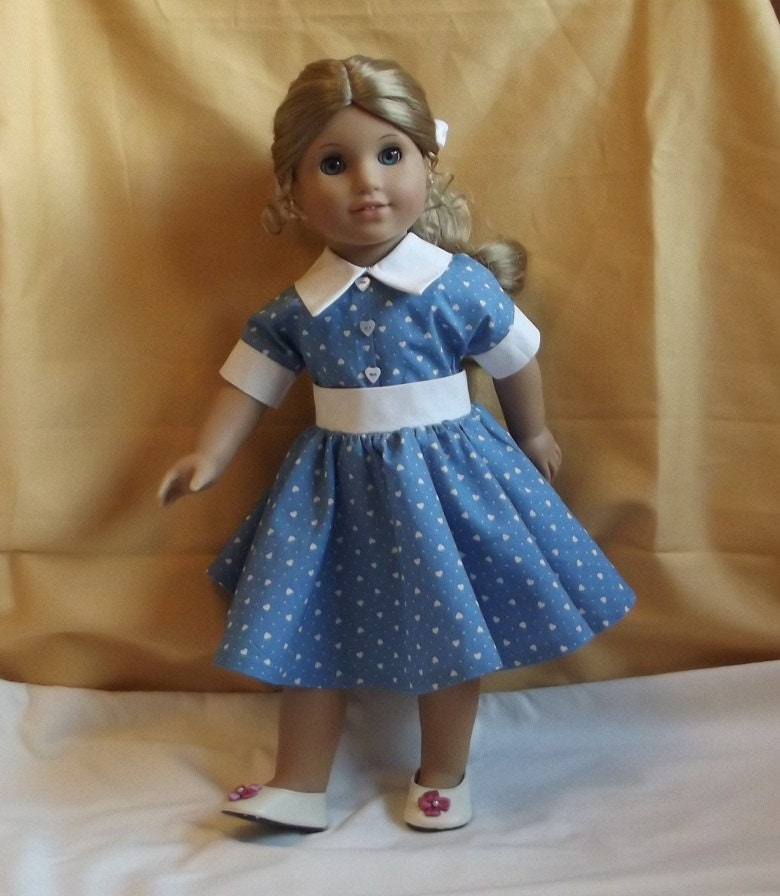 Pretty 1950s Style Dress for American Girl or Similar 18 inch Dolls with Full Circular Skirt