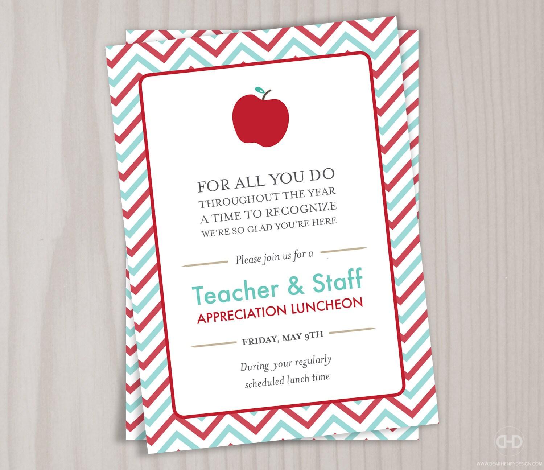 Teacher Appreciation Invitation, Printable Teacher Thank You Card ...