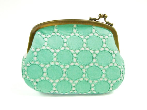 Turquoise Circle Lace Pouch