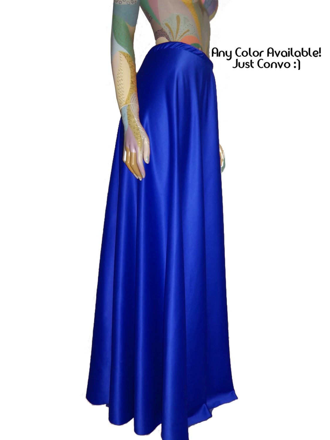 satin skirt blue maxi formal skirt for bridesmaid by
