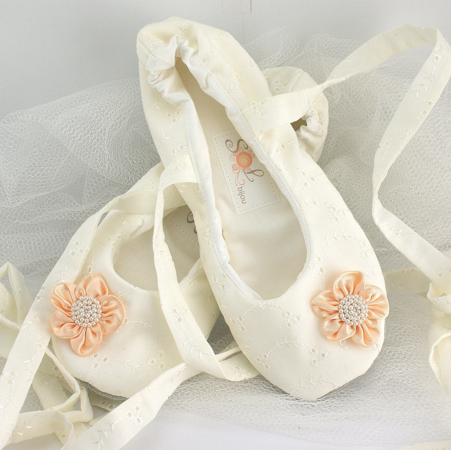 Ballet Bridal Flats Slippers In Ivory And Peach With By SolBijou
