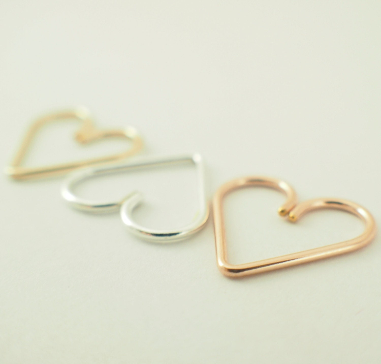 Argentium Silver, Rose Gold Filled, or Yellow Gold Filled - Heart Piercing - Hypo Allergenic - Cartilage Piercing - YOU PICK Metal and Gauge - favmoongirl