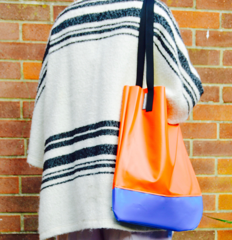 Handmade in UK Orange  Baby Blue Two Tone Upcycled Bouncy Castle Vinyl PVC Eco Friendly Tote Shopper Bag