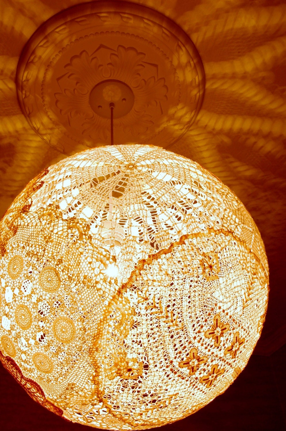 Unavailable listing on etsy for Doily light fixture