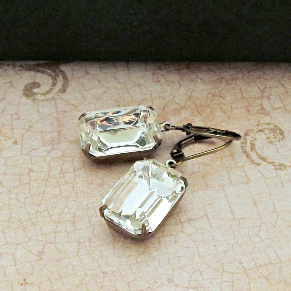 Vintage Rhinestone Earrings Glass Jewels Emerald Cut Clear Crystals Estate Jewelry Mid Century Modern - Hollywood Sparkle - laurenblythedesigns