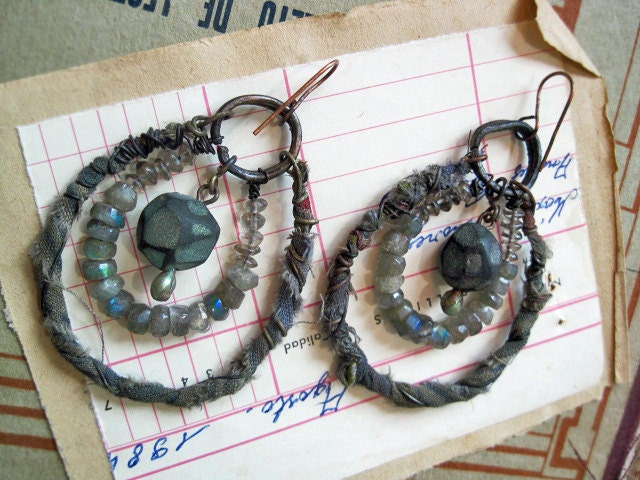 Extraterrestrial Diamonds.  Rustic Gypsy Labradorite Assemblage Earrings.