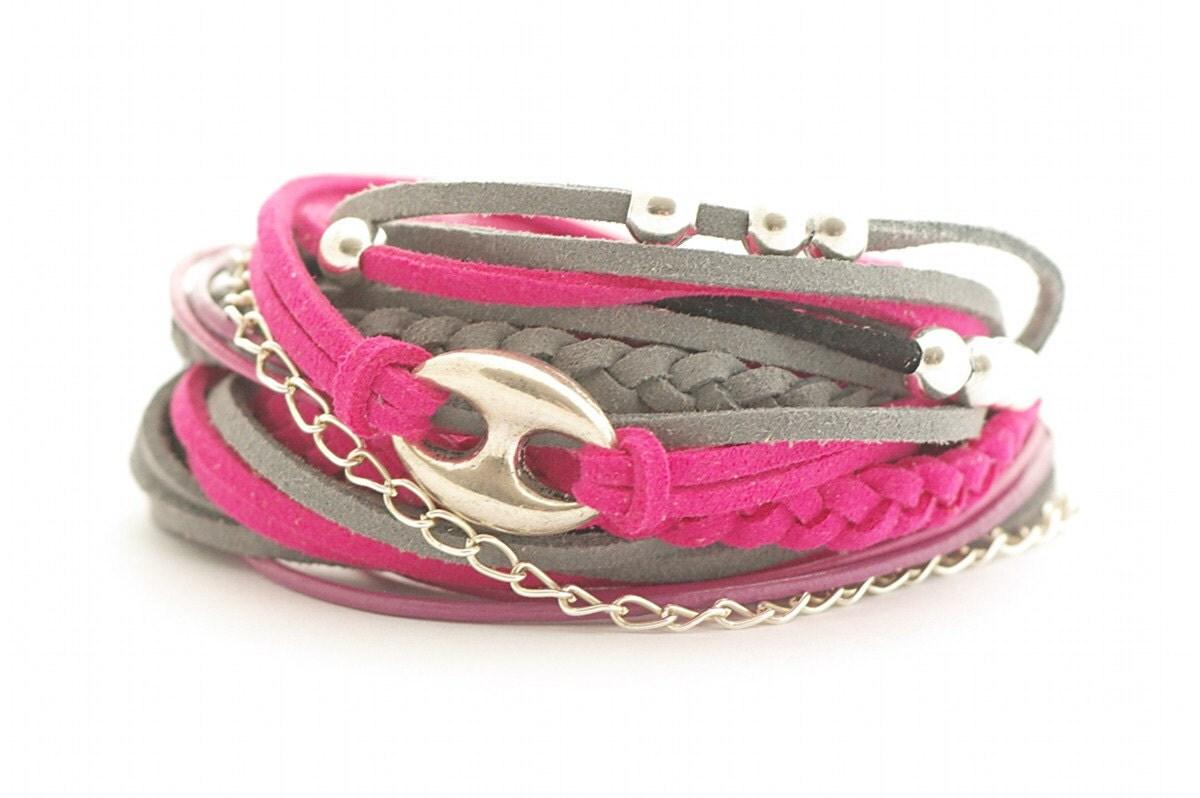 Wrap Bracelet, Fuchsia Gray Bracelet, Leather wrap, Purple Boho bracelet, suede, double wrap, boho chic - cardioceras