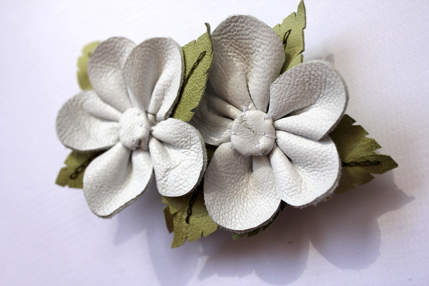 white leather floral barrette hair clip