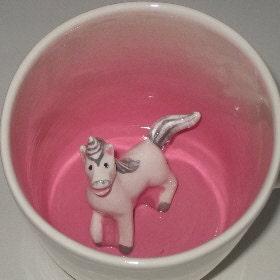 unicorn surprise mug by spademanpottery on etsy. Black Bedroom Furniture Sets. Home Design Ideas