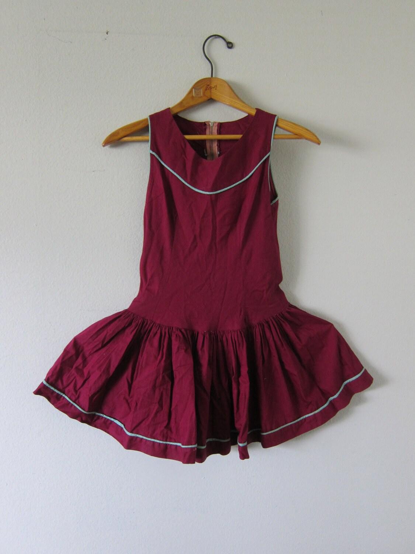 Vintage Children's School Dress- Maroon - STANDLEYMERCANTILE