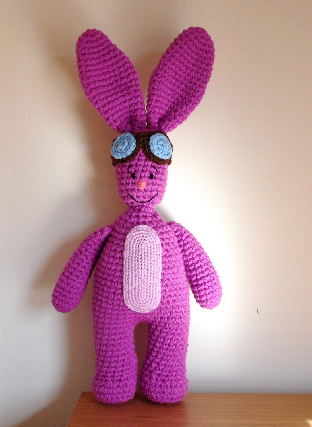 Purple Bunny in Aviator Glasses Mim Mim Bunny Inspired Crochet Soft Toy 19 Ready for Shipping